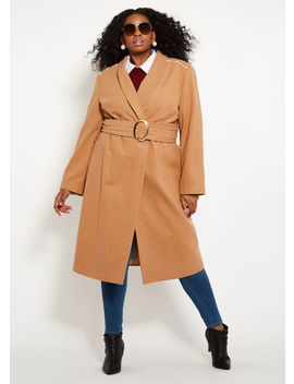 Wool Like Coat With Pearl Trim by Ashley Stewart