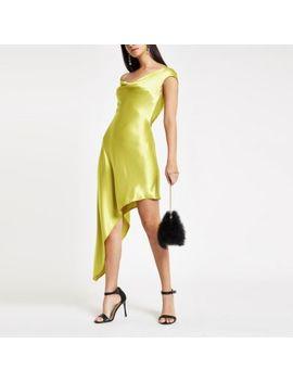 Green Diamante Strap Asymmetric Slip Dress by River Island