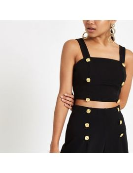 Petite Black Button Detail Crop Top by River Island