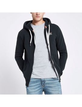 Superdry Blue Zip Front Hoodie by River Island