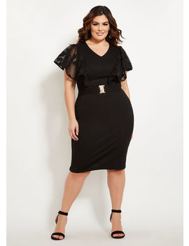Lace Top Flutter Sleeve Dress by Ashley Stewart