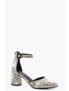Snake Block Heel Pointed Ballets by Boohoo