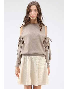 It's Knot Over Cold Shoulder Knit Sweater In Taupe by Chicwish