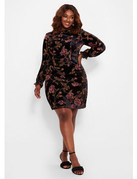 Velvet Floral Dress by Ashley Stewart