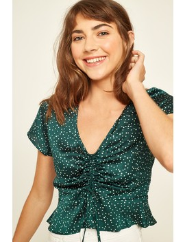 Perfect Stranger Cinch Me Up Top Green by Universal Store