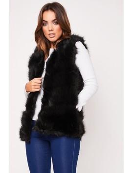 Clarissa Black Faux Fur Gilet by Misspap