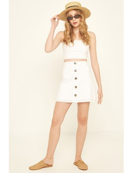 Perfect Stranger Button Front Linen Skirt White by Universal Store