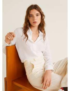 Camisa Com Costuras Em Contraste by Mango