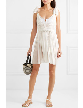 Daphne Pleated Silk Tulle Mini Dress by Elena Makri