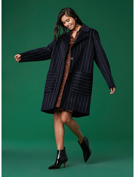 Collared Striped Coat by Dvf