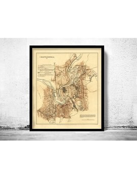 Old Map Of Chattanooga, Tennessee 1863 by Etsy