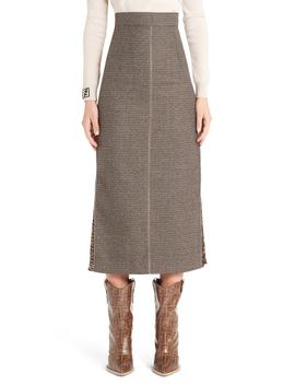 Silk Logo Godet Stretch Wool Skirt by Fendi