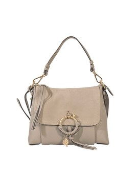 Joan Small Crossbody Bag In Grey Grained Calfskin And Suede Leather by See By Chloé