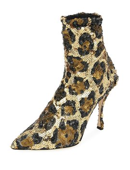 Leopard Sequin Pointed Booties by Dolce & Gabbana