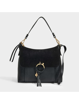 Joan Medium Crossbody Bag In Black Grained Calfskin And Suede Leather by See By Chloé