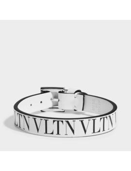 Vltn Small Bracelet In White And Black Calfskin by Valentino Garavani
