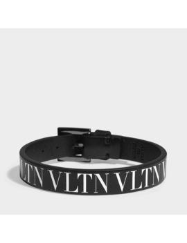 Vltn Small Bracelet In Black And White Calfskin by Valentino Garavani