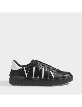 Vltn Open Sneakers In Black Calfskin by Valentino Garavani
