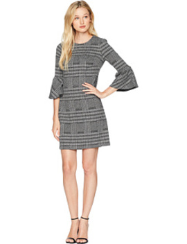 Ponte Plaid Bell Sleeve Sheath Dress Cd8 P286 L by Calvin Klein