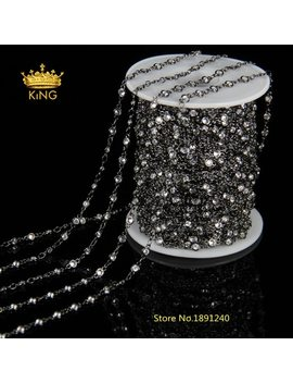 3mm,4mm,6mm Faceted Cz Beads Fashion Chains Jewelry Bulk,Clear Zircon Rosary Chain Gun Metal Plated Loop Making Bracelet Hx086 by Jaylaxiebj