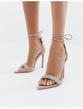 Public Desire Caffeine Blush Embellished Ankle Tie Heeled Sandals by Public Desire