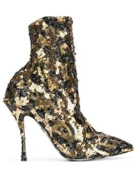 Sequin Ankle Boots by Dolce & Gabbana
