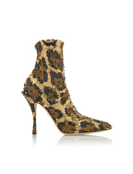 Sequined Leopard Print Ankle Boots by Dolce &Amp; Gabbana
