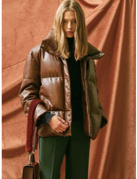 Leather Down Filled Jacket Brown by The Suin