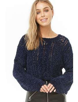 Open Knit Chenille Sweater by Forever 21