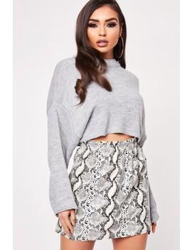 Aubree Grey Snake Print Pu Mini Skirt by Misspap