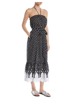 Emery Strapless Polka Dot Midi Dress W/ Lace Hem by Miguelina