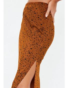 Orange Animal Print Slip Midi Skirt by Missguided