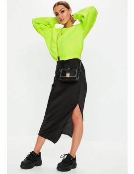 Black Satin Slip Midi Skirt by Missguided