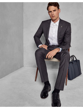 Slim Fit Plain Wool Pants by Ted Baker
