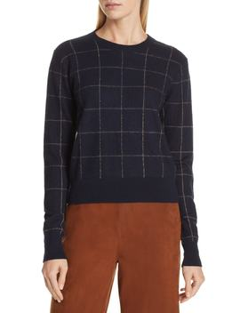 Windowpane Check Cashmere Sweater by Vince