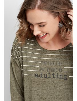 Adulting 3/4 Sleeve Graphic Tee by Maurices