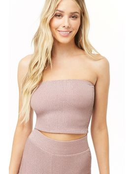 Metallic Ribbed Tube Top by Forever 21