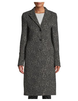 Jamson Leopard Print Wool Long Coat by Rt A