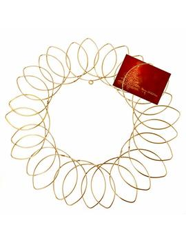 "Gold Metal Wreath   Wall Mount Christmas Card Holder   17""Dia by Red Co."