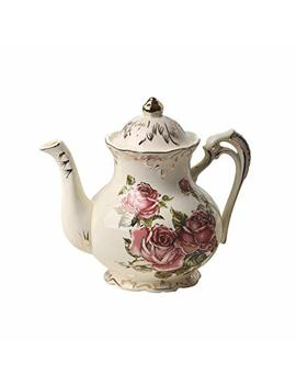 Red Rose Pattern Ivory Ceramic Vintage Tea Pot With Golden Leaves Edge,29oz,Ladyrose Gifts Idea by Yolife