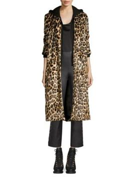 Kylie Layered Hoodie Leopard Coat by Alice + Olivia