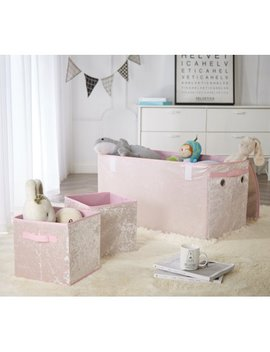 Urban Shop Crushed Velvet Collapsible Storage Trunk And 2 Cubes Set, Blush by Urban Shop