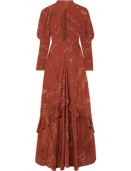 Ruffled Printed Silk Chiffon Maxi Dress by Etro