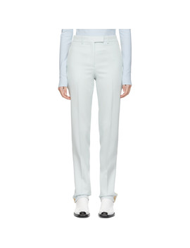 Blue Silk Stripe Trousers by Calvin Klein 205 W39 Nyc