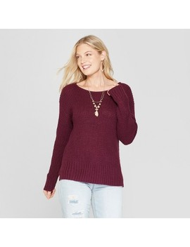 Women's Long Sleeve Pullover With Envelope Back   Knox Rose™ Burgundy by Knox Rose