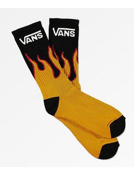 Vans Flames Black Crew Socks by Vans