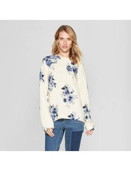 Women's Floral Print Long Sleeve Pullover   Knox Rose™ Ivory by Knox Rose