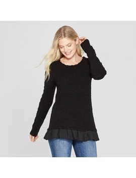 Women's Long Sleeve Pullover With Lace Detail   Knox Rose™ Black by Knox Rose