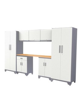 Frontier White Steel Garage Storage Cabinet System With Wooden Work Surface 76 Inch H X 132 Inch W X 18 Inch D by Frontier