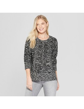 Women's Marble Long Sleeve Pullover   Knox Rose™ Black by Knox Rose